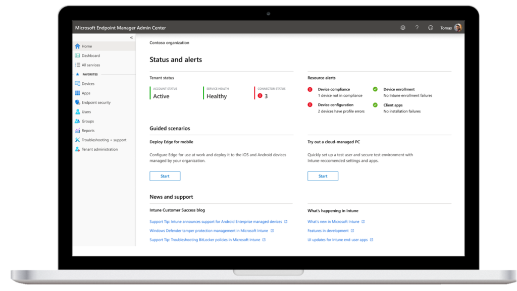 EndPoint manager admin center